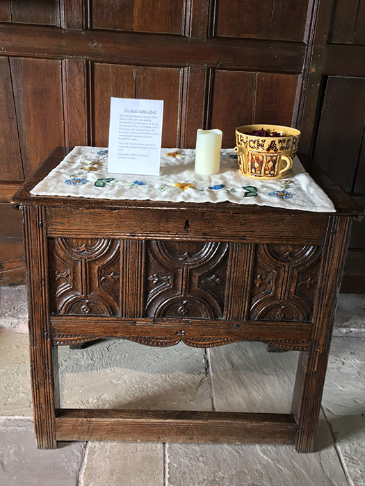 Ford Green Hall. table on display
