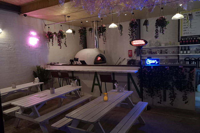 The pizza oven and pizzeria at ABQ London