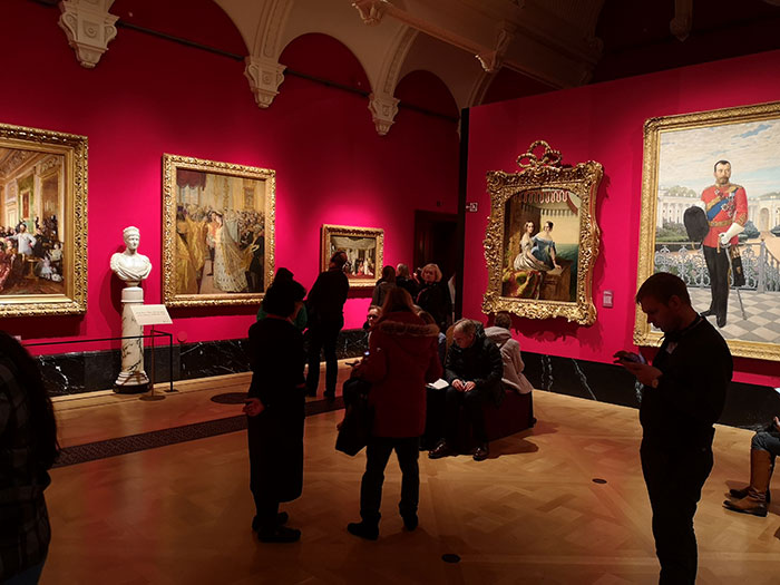 Room with paintings on display at Queen's Gallery at Buckingham Palace