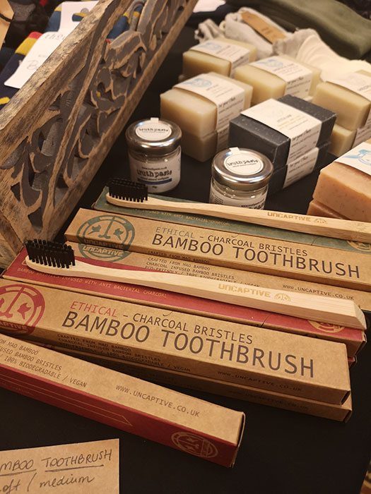 Stall selling eco toothbrushes at Live A Better Life Vegan Fair