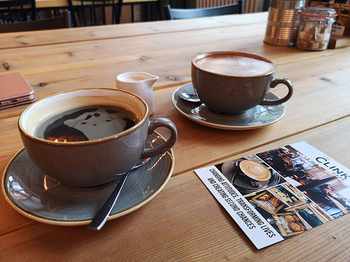 Clink Cafe. Manchester. Coffee cups