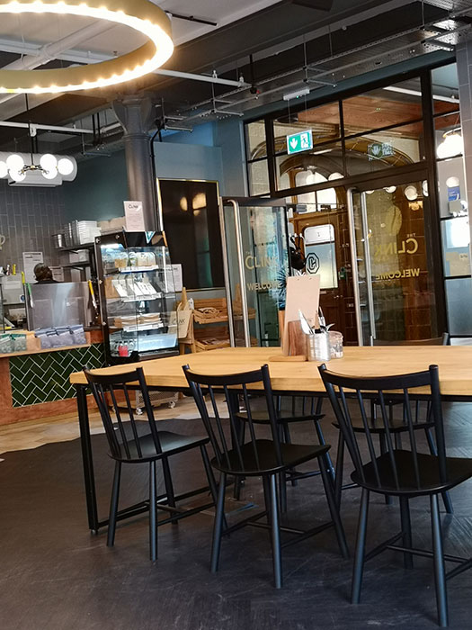 Clink Cafe. Manchester. How the restaurant looks