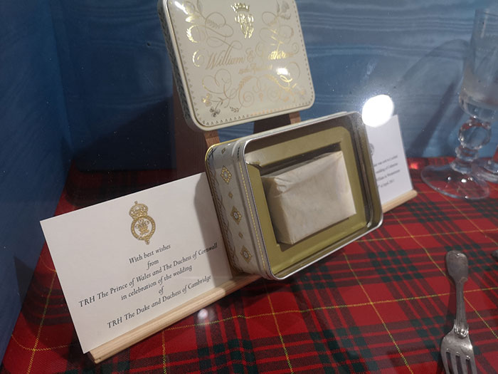 Wedding cake on display at Clan Cameron Museum
