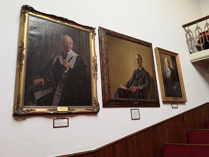 Paintings on the walls of the Victorian Lecture Theatre