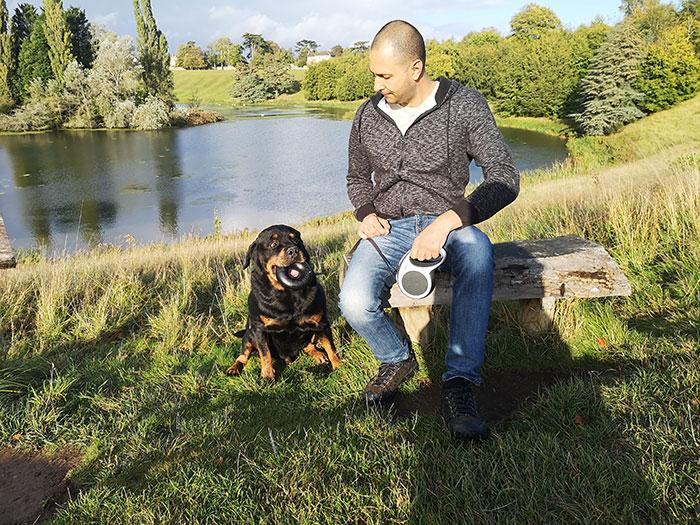 Festus and my husband near the lake