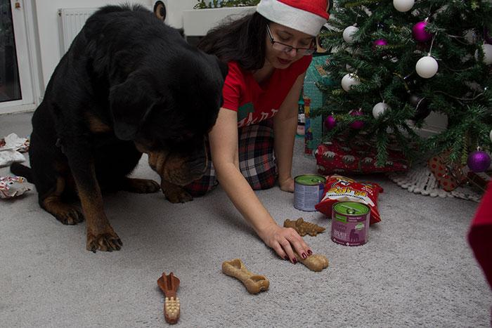 Showing him his treats