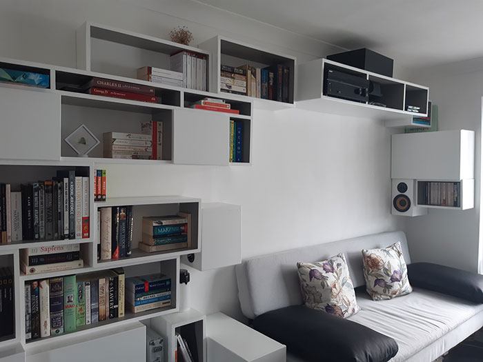 Bookcase and sofa