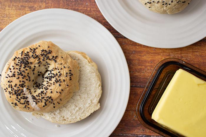 Week 3 - Bread - Bagel cut with vegan butter