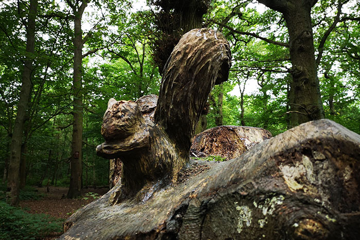 squirrel carved into a tree stump